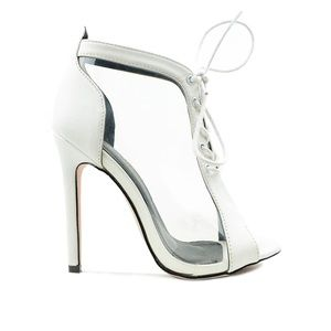 Peep Toe White Clear Lace Up Slim Women's Bootie